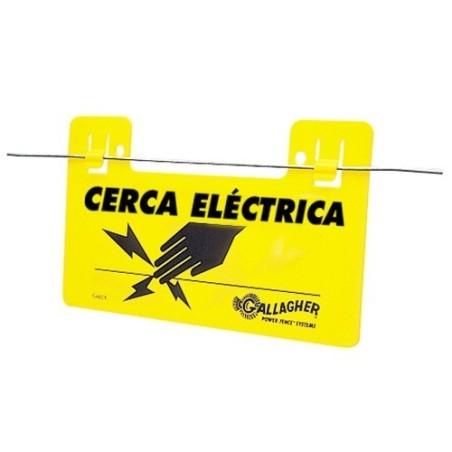 Letrero indicador cerca electrificada
