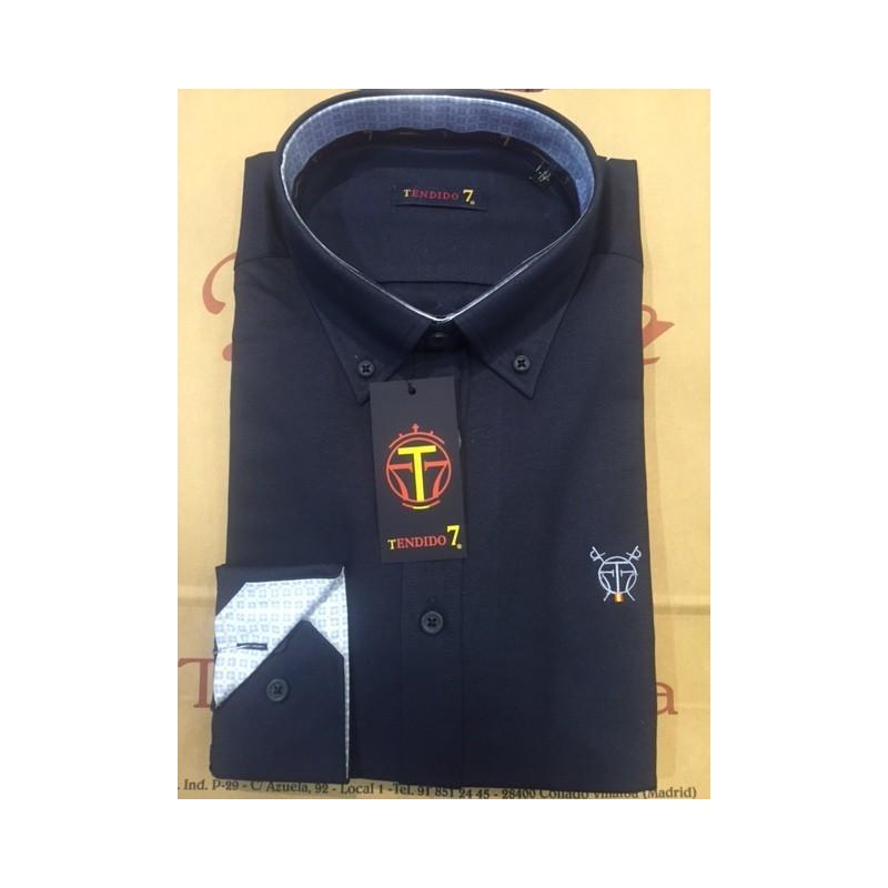 Camisa Marino Liso C/Flores
